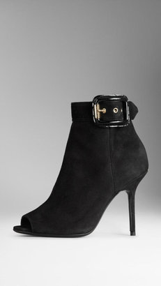 Burberry Peep-Toe Buckle Detail Suede Ankle Boots