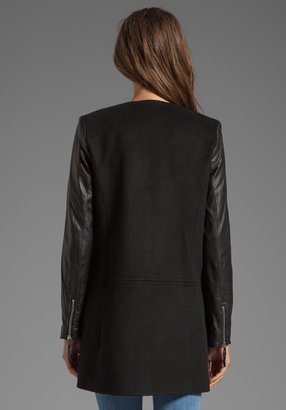 Milly Florentine Wool Melton Chloe Leather Sleeve Coat