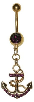 Women's Supreme JewelryTM Curved Barbell Belly Ring with Stones - Gold/Purple