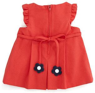 Florence Eiseman Plain Pincord Flutter-Sleeve Dress, Red, 3-9 Months