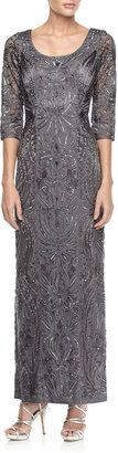 Sue Wong 3/4-Sleeve Embellished Column Gown, Charcoal