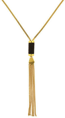 Vince Camuto Gold Tone and Black Tassel Pendant Necklace
