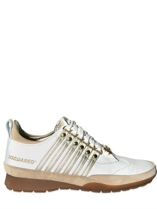 DSquared Calfskin Striped Sneakers