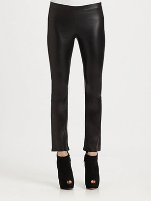 Vince Cropped Stretch-Leather Leggings
