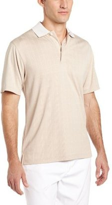 PGA TOUR Men's Short Sleeve Birdseye Window Pane Jacquard Polo Shirt