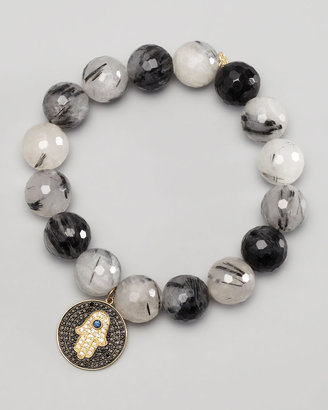 Sydney Evan Diamond Hamsa Charm Beaded Bracelet, Black/White
