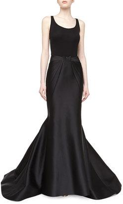 Zac Posen Long Duchess Mermaid Skirt, Black