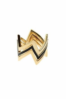 House Of Harlow Double Gold Three Stack Ring in Black/Gold