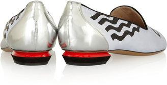 Nicholas Kirkwood Leather and boucle-tweed loafers