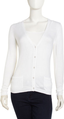 Neiman Marcus Floral-Back Cardigan, White
