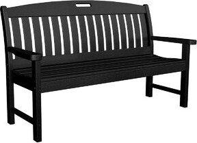 "Polywood Nautical Plastic Garden Bench Size: 48"", Color: Black"