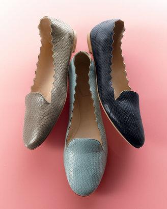 Chloé Scalloped Snakeskin Loafer, Light Blue