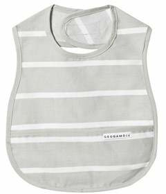 Geggamoja Grey and White Stripe Bib