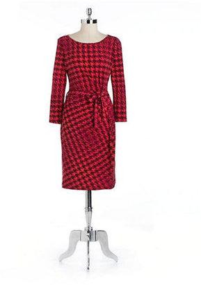 Anne Klein Houndstooth Side-Tie Dress