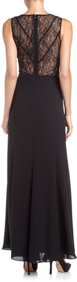 Max & Cleo Lace-Back Trumpet Gown, Black