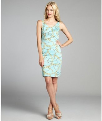 Tahari ASL aqua and gold chain print sateen v-neck sleeveless dress