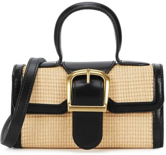 Rylan 3.16 Mini Leather And Raffia Top Handle Bag