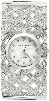 Charter Club Women's Silver-Tone Floral Cuff Bracelet 30mm