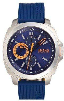 Men's Boss Orange 'Brisbane' Multifunction Slicone Strap Watch, 49Mm $160 thestylecure.com