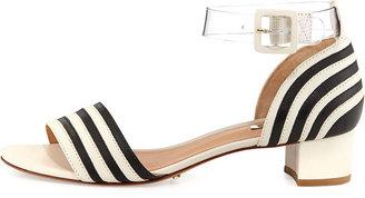 Schutz Fathia Striped Chunky Sandal, Pearl/Black