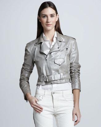Ralph Lauren Black Label Metallic Suede Biker Jacket, Silver