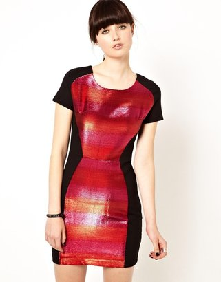 Markus Lupfer Contrast Stripe Body-Conscious Dress