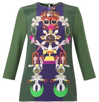 Mary Katrantzou Spellbound Clocktopia-print top