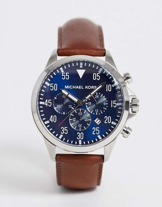 Michael Kors MK8362 Gage chronograph brown leather strap watch