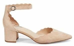 Lord & Taylor Madia Scalloped Suede Pumps