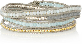 Chan Luu Silver, gold-plated, quartz and jade five-wrap bracelet
