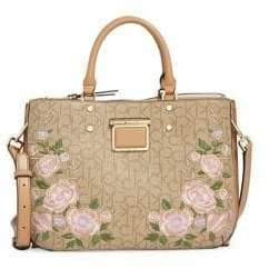 Calvin Klein Floral Embroidered Leather Satchel