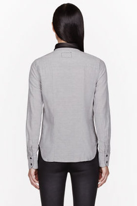 Rag and Bone RAG & BONE Grey Chambray Leather-collared Blouse