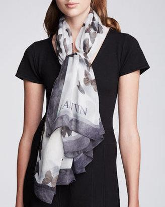 Lanvin Butterfly-Print Silk Scarf, Burgundy