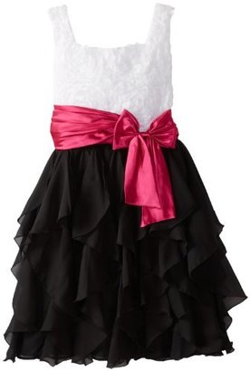 Rare Editions Girls 7-16 Plus-Size Soutach Ruffle Dress