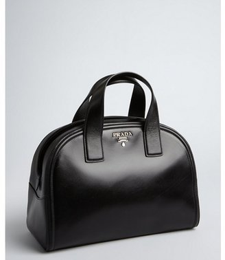 Prada black leather slit top logo detailed bowler bag