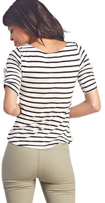 Wet Seal Must-Have Striped Tab-Sleeve Top