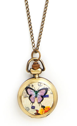 Time Butterflies By Pocket Watch Necklace