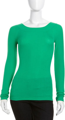 BCBGMAXAZRIA Ceelia Ribbed Top, Green Opal