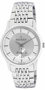 Dreyfuss & Co DGB00001/02 Women's Classic Dual Dial Bracelet Strap Watch, Silver