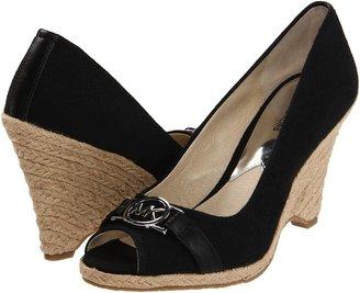 MICHAEL Michael Kors Meg Open Toe (Black Weave) - Footwear