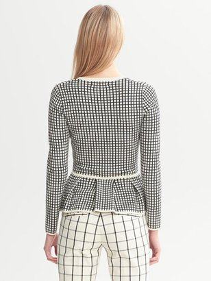 Banana Republic Windowpane Peplum Sweater