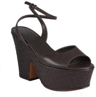 Bottega Veneta dark brown intrecciato leather curved plateform sandals