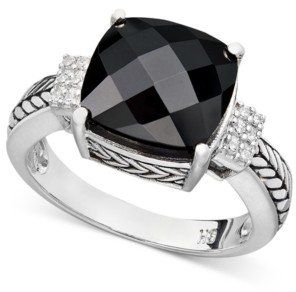 Effy Balissima by Onyx (10 x 10mm) and Diamond Accent in Sterling Silver