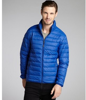 Hawke & Co electric blue quilted nylon packable down fill jacket