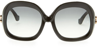 Balenciaga Oversized Square Sunglasses, Black