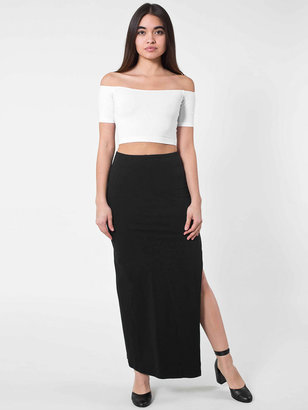 American Apparel Cotton Spandex Slit Maxi Skirt