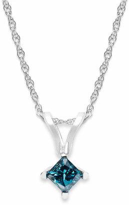 Macy's 10k White Gold Blue Diamond Pendant Necklace (1/5 ct. t.w.)