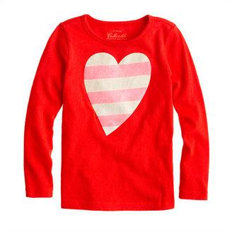 Lee Girls' long-sleeve glitter-stripe heart tee