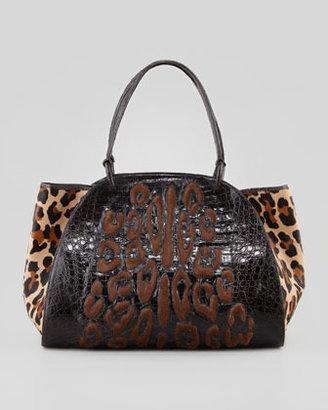 Nancy Gonzalez Leopard-Spot Calf Hair & Crocodile Tote Bag, Brown