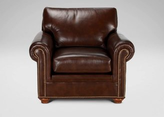 Ethan Allen Conor Leather Chair, Omni/Brown